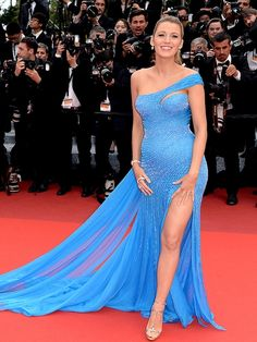 All the Glamour, Glitz and Gowns from the Cannes 2016 Red Carpet | People - Blake Lively in a blue Atelier Versace dress