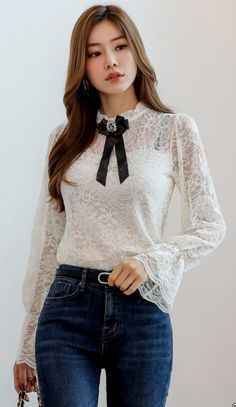StyleOnme_See-through Floral Lace Frill Blouse #floral #lace #blouse #feminine #koreanfashion #koreanstyle #kfashion #falltrend #dailylook