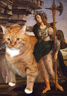 Cuando la pintura famosa se encuentra con un gato gordo.... y un ocioso