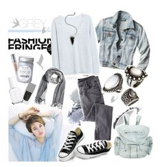 """""""GREY and BLUE"""" by askriiid ❤ liked on Polyvore featuring Urban Decay, Givenchy, Essie, NARS Cosmetics, MANGO, H&M, Pamela Love, Alexander Wang, Converse and Universal Lighting and Decor"""