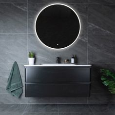 Lind magical 120 baderomsmøbel sort u/speil - Baderomsmøbler - Baderom - MegaFlis. Copper Bathroom, Bathroom Inspo, Small Bathroom, Ikea Hemnes Daybed, Round Mirrors, Living Spaces, Room Decor, House Design, Interior Design