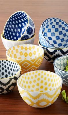 Pad Printed Bowls - Ikat from West Elm. Shop more products from West Elm on Wanelo. West Elm, Modern Dinnerware, Dinnerware Sets, How To Make Breakfast, Plates And Bowls, Soup Bowls, Ceramic Bowls, Kitchen Accessories, Dinner Plates