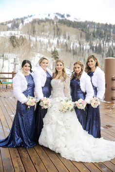 We're oohing and ahhing over this Deer Valley wedding at Stein Eriksen Lodge. Snow-covered mountains, a spectacular wedding dress, and a breathtaking ballroom reception - what could be better? Winter Bridesmaids, Blue Weddings, Bridesmaid Dresses, Wedding Dresses, Something Blue, Pepper, Reception, Wedding Day, Bridal