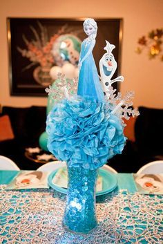 Frozen Queen Elsa birthday party centerpieces! See more party ideas at CatchMyParty.com!