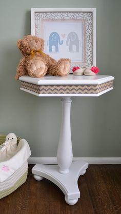 AnneTique Designs: nursery end table make over #white #chevron #DIY