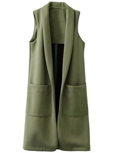 Pockets Turn-Down Collar Long Waistcoat - Daily Fashion Hijab Fashion, Fashion Outfits, Clothing Packaging, Wool Vest, Long Vests, Fashion Seasons, Sammy Dress, Simple Dresses, Capes