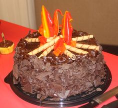 Campfire cake for Eagle Court of Honor. (Also has merit badge decorating ideas.) The Happy Heart Bonfire Cake, Campfire Cake, Cub Scout Crossover Ceremony, Eagle Scout Ceremony, Arrow Of Lights, Scout Camping, Cakes For Boys, Cub Scouts, Fall Desserts
