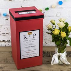 Personalised red wedding post box, personalised with your names, wedding date, evening reception venue and end time.