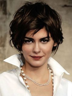 audrey tatou hair | Audrey Tautou with tousled wavy hair
