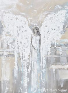 GICLEE PRINT Art Abstract Angel Painting Canvas Print Oil Painting Home Decor Wall Art Housewarming Gift White Grey Blue Cream -Christine - My list of the most beautiful artworks Original Paintings, Original Art, Angel Paintings, Art Paintings, Modern Paintings, Art Amour, Bell Art, Angel Art, Home Decor Wall Art