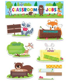 These fun-loving critters will help promote cooperation and classroom responsibility in this charming Woodland Friends Classroom Jobs mini bulletin board.  Woodland animals included in this set: raccoon, owl, squirrel, hedgehog, fox, deer, rabbit, and bear. Student labels are adorned with flowers, leaves, toadstools and tree trunk designs. The playful designs are perfect for themes including camping, nature, outdoors, science, animals, and more.