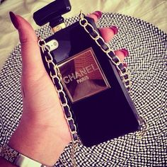 Iphone 6 gold CHANEL paris plated black perfume bottle inspired case with black & gold chained strap