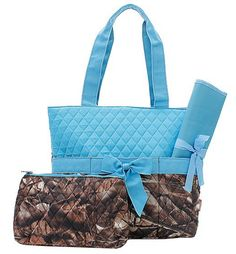 Blue Camo Baby Diaper Bag Set
