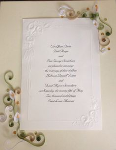 A quilled wedding invitation keepsake with a custom painted paper quilling wedding invitation keepsake quilling framed art wedding gift handmade stopboris Choice Image