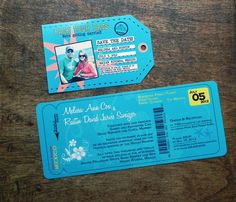 Destination Wedding Boarding Pass Invitation and Luggage Tag RSVP or Save the Date. $4.70, via Etsy.