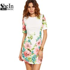 SheIn Elegant Dresses For Woman Summer Style Ladies Multicolor Floral Print Round Neck Short Sleeve Bodycon Dress
