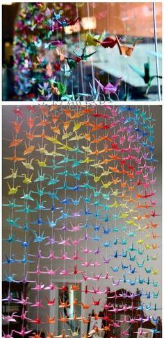 Background de Origami (Papel) - Painel / Background - DIY - Faça você mesmo - Festas - Reciclagem de Papel