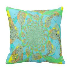 Colorful Sea Turtle Swirl Pillow
