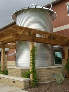 "One of four rainwater cisterns at the Denton County Government Center, TX - ""Harvesting rainwater is an old idea that is gaining popularity in Texas, where our growing population and frequent drought make it important to use our water resources efficiently"""
