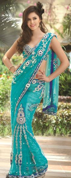 Aqua Blue Net Lehenga Saree With Unstitched Blouse