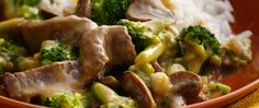 Green Giant® frozen broccoli & three cheese sauce combined with beef strips and teriyaki add up to an easy stir-fry dish.