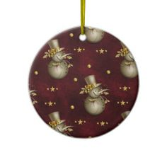 Cute Golden Snowman Christmas Tree Ornaments by Graphic Allusions. #christmas