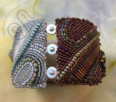 Bead Embroidery cuff with raku pottery focals by SanFortune