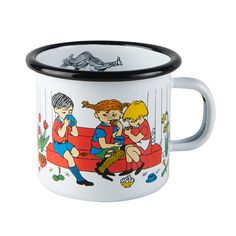 Muurla Emaille Tasse Pippi Cup Of Coffee White 250 ml Coffee Time, Coffee Cups, Pippi Longstocking, Sandy Toes, Royal Design, Mug Cup, Enamel, In This Moment, Ebay