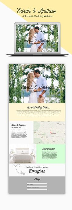 Bespoke wedding website wordpress website romantic theme
