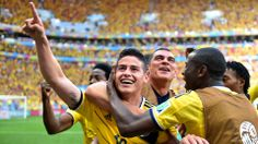 James Rodriguez of Colombia celebrates scoring his team's first goal