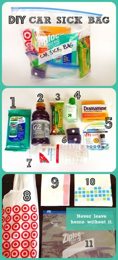 DIY Car Sick Bag. We take several road trips and often to the mountains, so I've learned how to protect my kids from getting car/motion sickness, but more importantly, how to protect my car from being vomited on. Every mom, dad, grandma, grandpa, aunt, uncle, teacher, bus driver, chauffeur, taxi driver and babysitter needs to make a DIY Car Sick Bag.