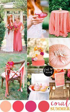 Coral wedding color palette for summer wedding | http://www.fabmood.com/coral-wedding-color-palette-for-summer-wedding/