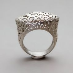 "Ring | Meital Levi ~ Toolis Jewelry Designs.  ""Crown Lace""  Handmade Sterling Silver Filigree"