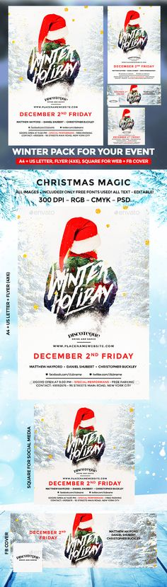 Buy Winter Flyer by BigWeek on GraphicRiver. Winter Holiday Party Flyer Size: with bleed US Letter with bleed Flyer with. Holiday Party Games, Holiday Party Invitations, Holiday Parties, Christmas Flyer Template, Holiday Signs, Holiday Ideas, Christmas Night, Party Flyer, Halloween Costumes For Kids