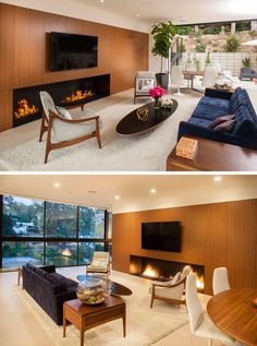 Inside this home there's an open floor plan, with the living room focused on the…
