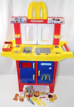 McDonalds Drive Thru Window Kitchen Playset with Accessories - Works! #McDonalds