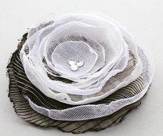White and Black FABRIC FLOWER Handmade Fabric Flower by Gabiworks