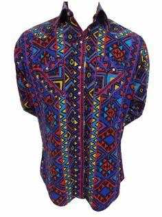 Vintage Road Runner Pearl Snap Shirt Size L Aztec Indian Western Cowboy Rodeo #RoadRunner #ButtonFront SOLD