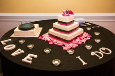 Our cake and the groom's cake (He is a DJ so I surprised him with a turntable) JJDJ Entertainment