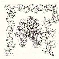 Ein Zentangle aus den Mustern Autumnal, Kraky, Ohana,  gezeichnet von Ela Rieger, CZT