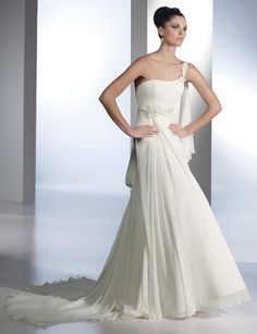 Distinct One Shoulder Beads Working Sheath / Column Empire Chiffon Satin Court Train Beach Bridal Gwon