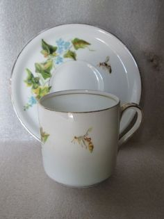 Fine Porcelain Demitasse Cup Saucer Hand Painted Blank w Bee Ivy not Signed | eBay
