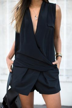 Asymmetrical black draped #minimalist #fashion #style