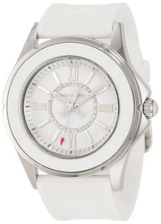 Juicy Couture Women's 1900871 Rich Girl White Jelly Strap Watch. Injected silicon strap. Stainless steel case with silicon bezel. Oversized round case. Tonal dial with Swarovski crystals; adjustable strap. Water resistant to 99 feet (30 M): withstands rain and splashes of water, but not showering or submersion.