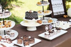 Elegant fall party that would work for both Thanksgiving & Halloween, table featured fondant pumpkins, pecan pie bits, cupcakes & more! Fall Dessert Recipes, Party Desserts, Fall Desserts, Wedding Desserts, Fall Birthday Parties, Thanksgiving Parties, Thanksgiving Table, Thanksgiving Celebration, October Birthday
