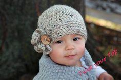 Crochet Beanie with Mini Ruffle by Twistyourtop on Etsy, $27.00