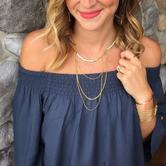 Off the shoulder tops are EVERYWHERE right now we love pairing with the Drape Collar Necklace. www.stelladot.com/lindseynations