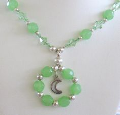 Peridot Opal Necklace Pendant Statement Strand by TheGlitterShop, $25.00