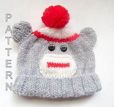 Knitting Pattern Sock Monkey Beanie Baby by WistfullyWoolen