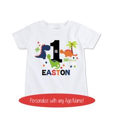 First Birthday dinosaur shirt custom Name shirt boys by Exit17